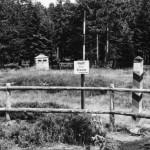 Richtungsänderungen eines Waldweges: Holzbarriere verhindert versehentliches Überschreiten der Grenze.